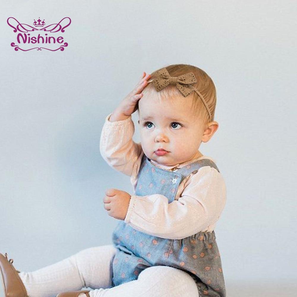 Nishine Fashion Handmade Bowknot Elastic Traceless Hairband Infant Solid Color Knitting Wool Bows He