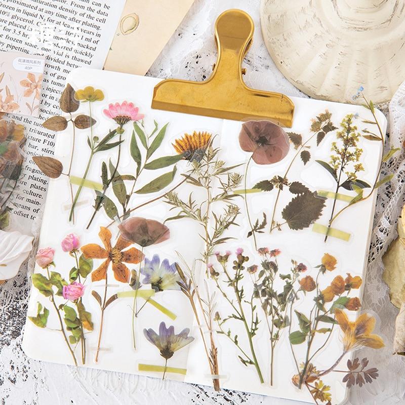 40-pz-lotto-fiori-vintage-pianta-adesivi-adesivi-margherita-retro-washi-carta-cancelleria-viaggio-decorativo-scrapbooking-diario-album