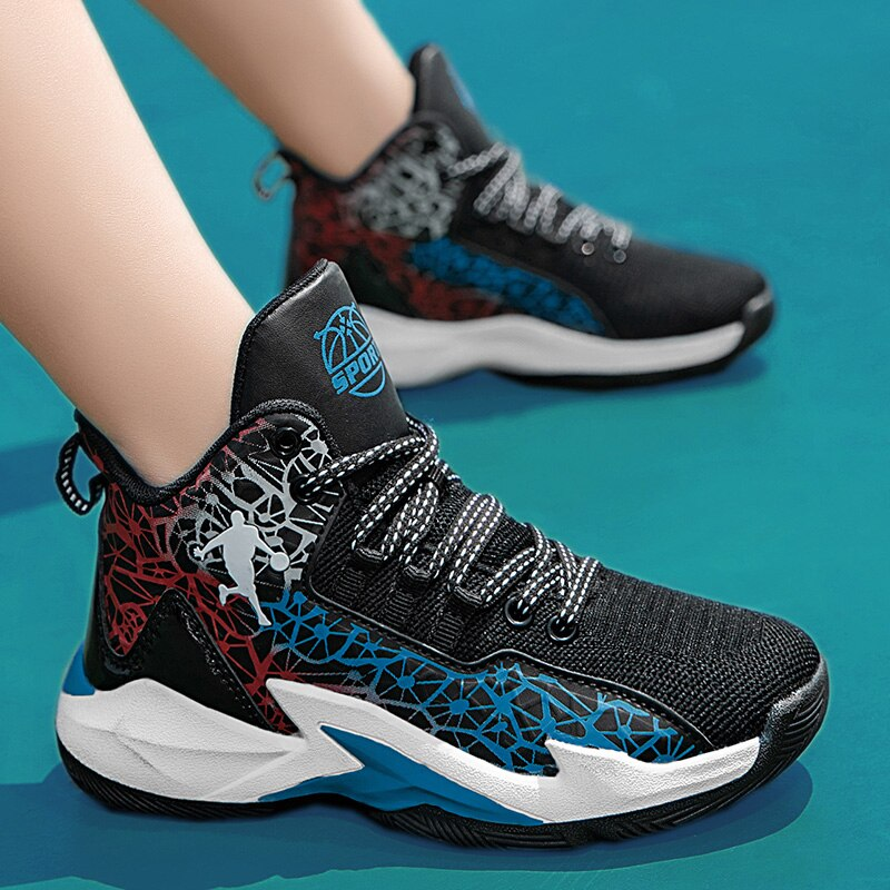 2021 novos meninos tenis da marca sapatos hook loop criancas tenis de basquete do