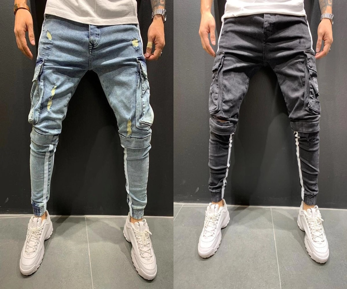 Mens Jeans Striped Safari Style Jeans Skinny Ripped Destroyed Stretch Slim Multi-Pocket Pants With Holes Men Jeans five pockets destroyed skinny jeans