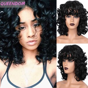 Short Loose Wave Bob Wig Ombre Synthetic Wavy Wigs with Bangs for Black Women High Temperature Afro American Cosplay Hair Wig