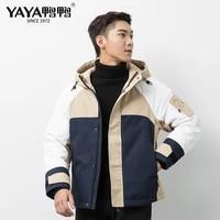 yaya 2021t mens lightweight duck down jacket casual collar hooded down coats windbreak gentleman autumn winter outwear