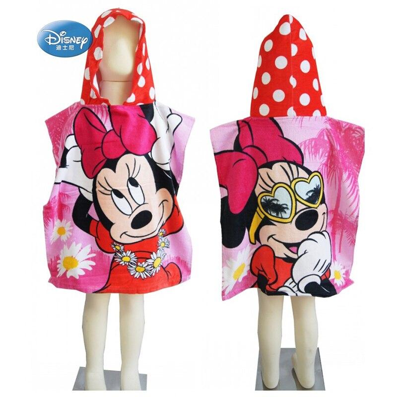 Minnie de Disney de bebé Mickey Mouse, toallas con capucha para baño, algodón 100%, Capa de baño, albornoz para niños pequeños, niñas, niños, 50x 115cm