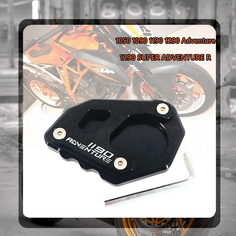 Para KTM 1190 Adv Adventure aluminio placa de soporte lateral de motocicleta Kickstand almohadilla de extensión apta para KTM 1190 Adv soporte lateral ampliar