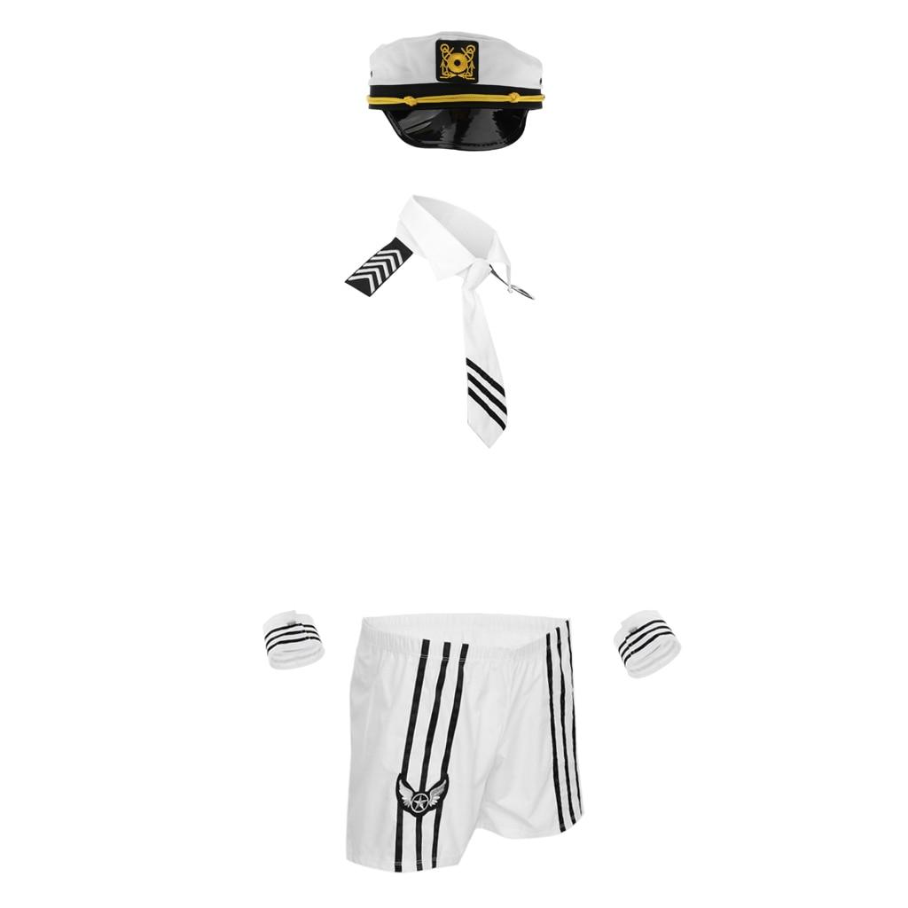 (Collar de pajarita + cuerda + par de pulseras-Conjunto de traje de hombre-Lencería de Tanga-Hombre-Marina erótica