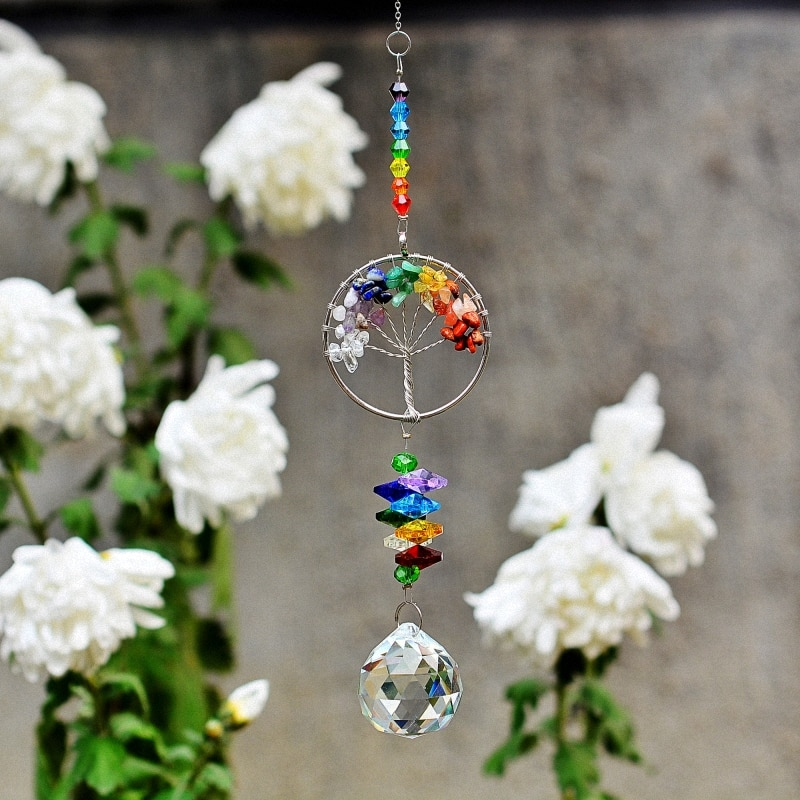 KAINAI Garden rainbow Sun Catcher stone tree crystal Prisms Moon window decoration crystal ornament for garden deco home deco