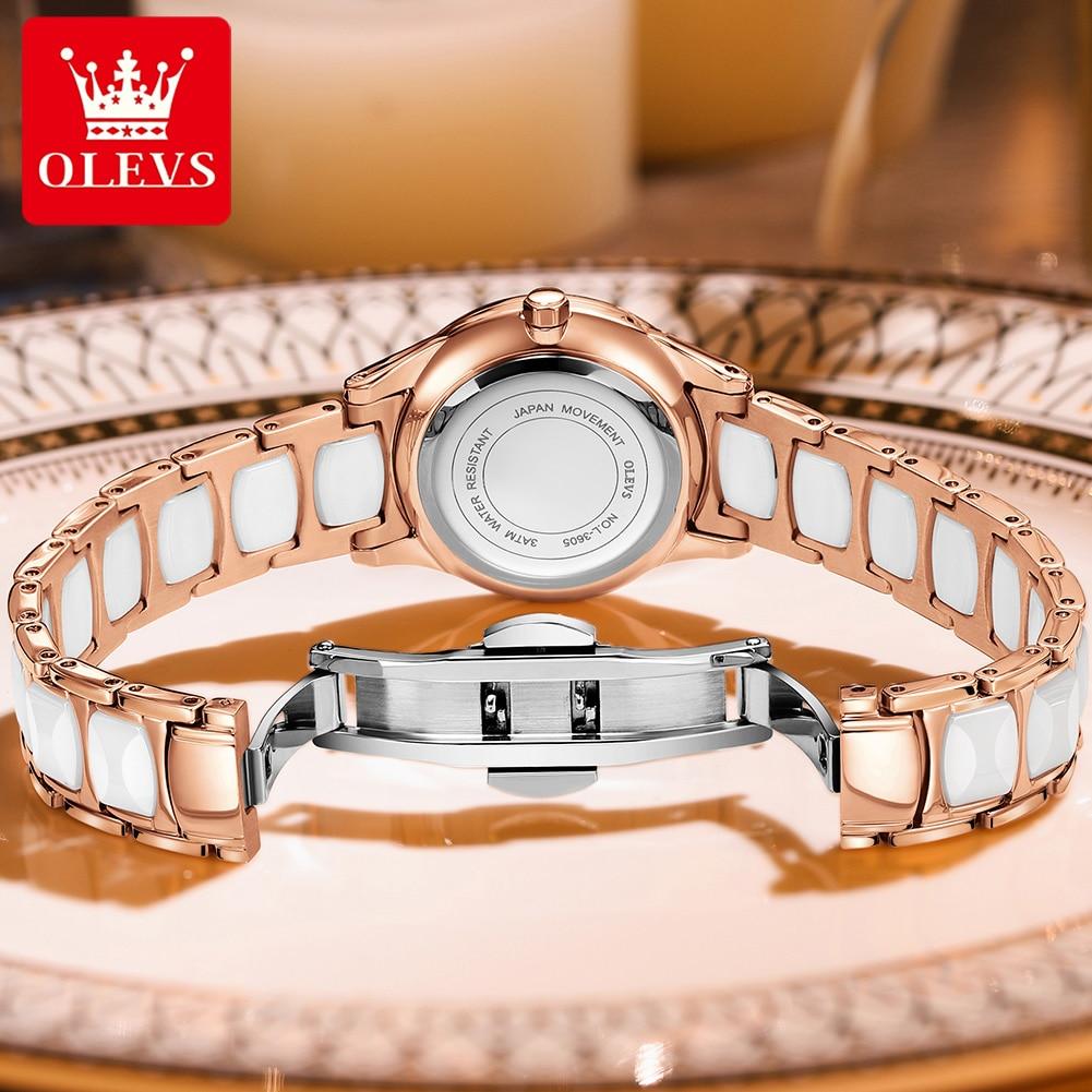 OLEVS Casual Women Watches Ceramics Bracelet Quartz Wristwatch Analog Wrist Watch Gift Luxury Ladies Clock Female Wristwatches enlarge
