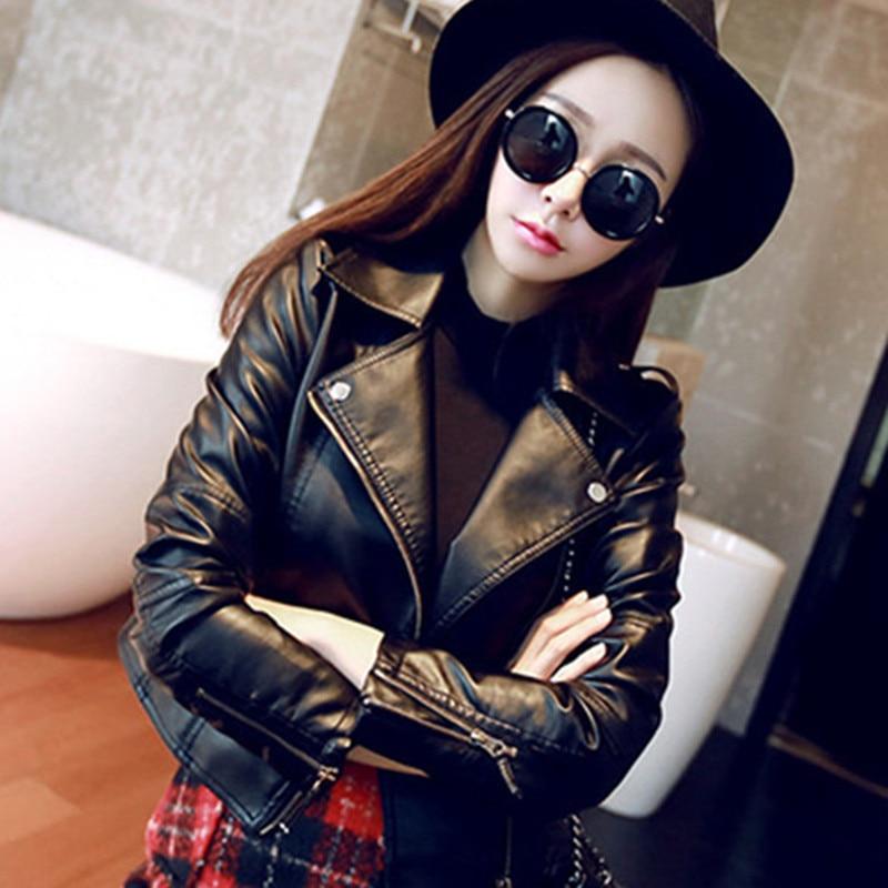GOOHOJIO 2020 Basic Silm Women Pu Leather Outwear Woman Black Short Coat Female Autumn Zipper Classi