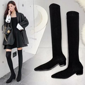 Boots Socks Boots Woman Boots Knight Boots Thick Cylinder With Socks Boots Woman Overknee Boots