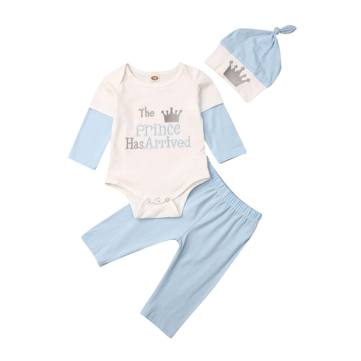Pudcoco recién nacido bebé niño niña otoño Ropa El Príncipe ha llegado mono leggns pantalones sombrero 3 piezas otoño trajes