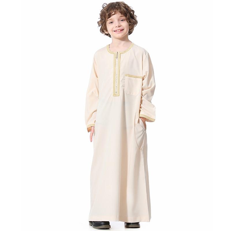 Islamic Saudi Arabia Pocket Button Cardigan Teen Boy Robe Muslim Little Boy Dress Brazil Spanish Long Skirt Ramadan Clothing