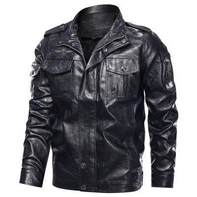 Men's Casual Solid Color Pocket Decoration Stand Collar Large Leather Jacket Men's No Cap Shoulder Band Faux Leather Jaket enlarge