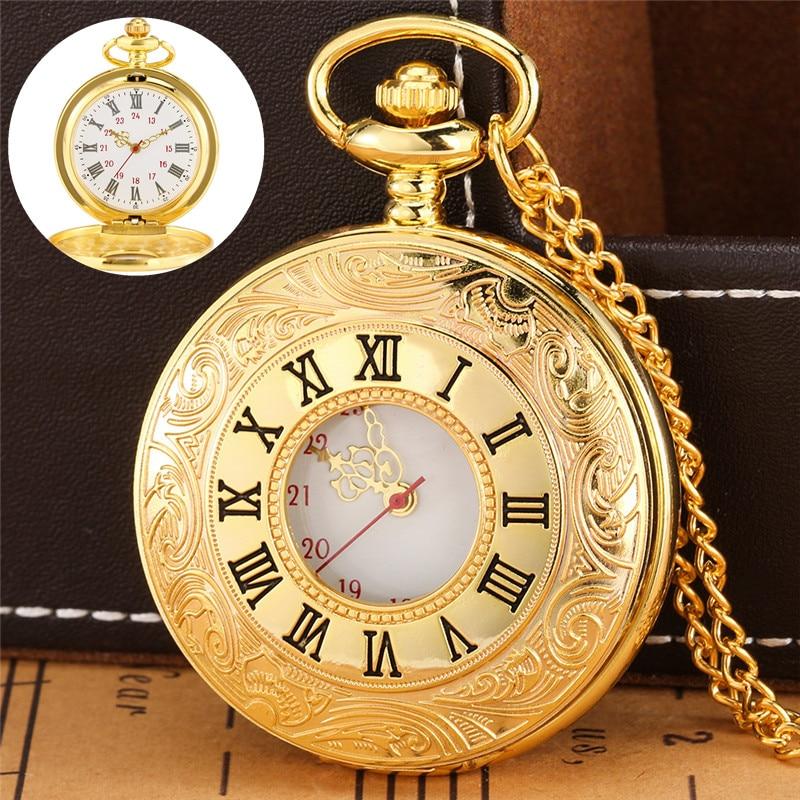 Luxury Yellow Gold Carving Roman Number Pocket Watch Men Women Quartz Watches Pendant Clock Necklace Chain Relgio de bolso masonic pocket watch luxury golden big g free mason freemasonry jewelry quartz fob watches pocket chain gifts relogio de bolso