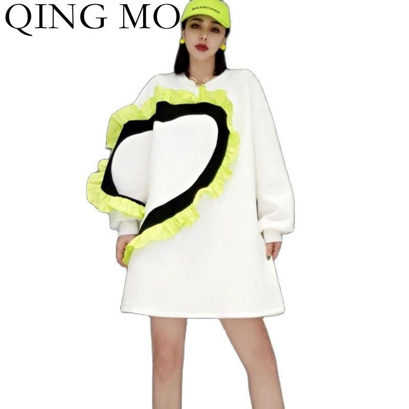 تشينغ مو الخريف تصميم الازياء خياطة تكدرت البلوز المرأة 2021 جديد فضفاض البلوز الإناث البلوز المعتاد ZWL1216