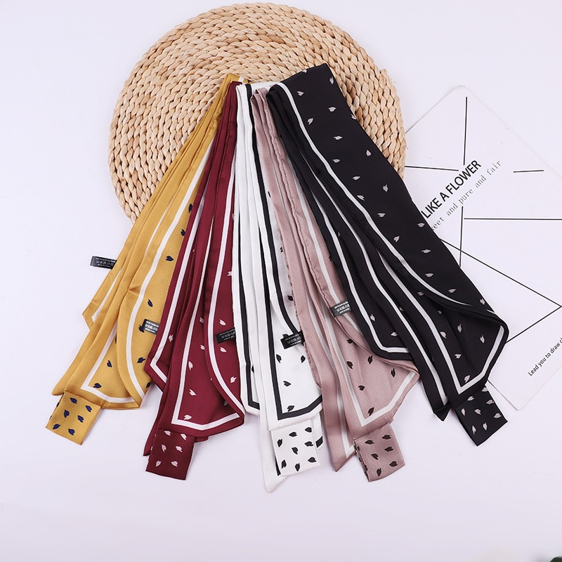 Primavera dulce Bufanda de las mujeres de moda femenina Polka Dot cinta atada bolsa decoración cintas banda de pelo, Bufanda Mujer scarve seda