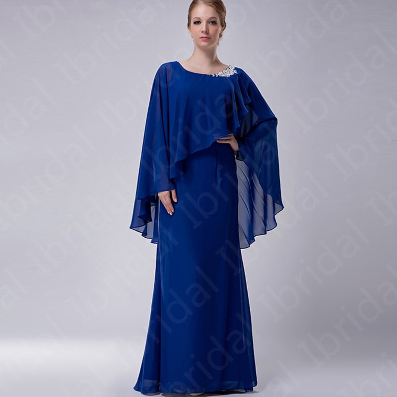 On Sale Charming Royal Blue Mother of the Bride Dresses with Shawl Chiffon Wedding Party Dresses Jew