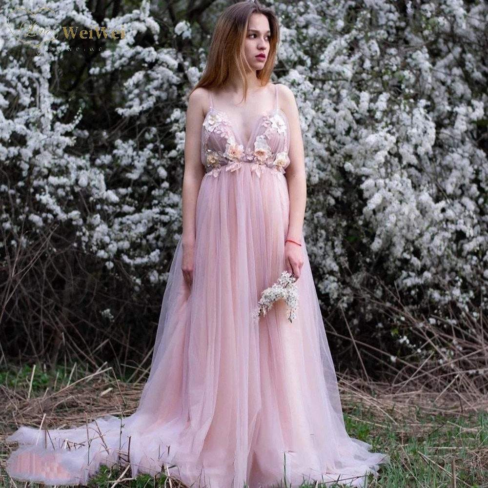Bohomia Pink Wedding Dress V-Neck Sleeveless Spaghetti Straps Floor Length Backless Flower Applique Cвадебное платье 2021