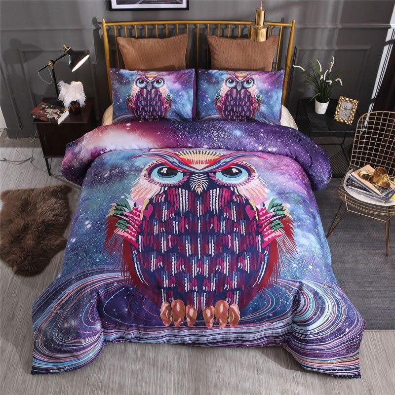 Juego de cama 3D edredón de gato reina animal/funda de edredón juego de cama de doble tamaño para niños decoración de dormitorio azul galaxia búho Lobo hogar textil