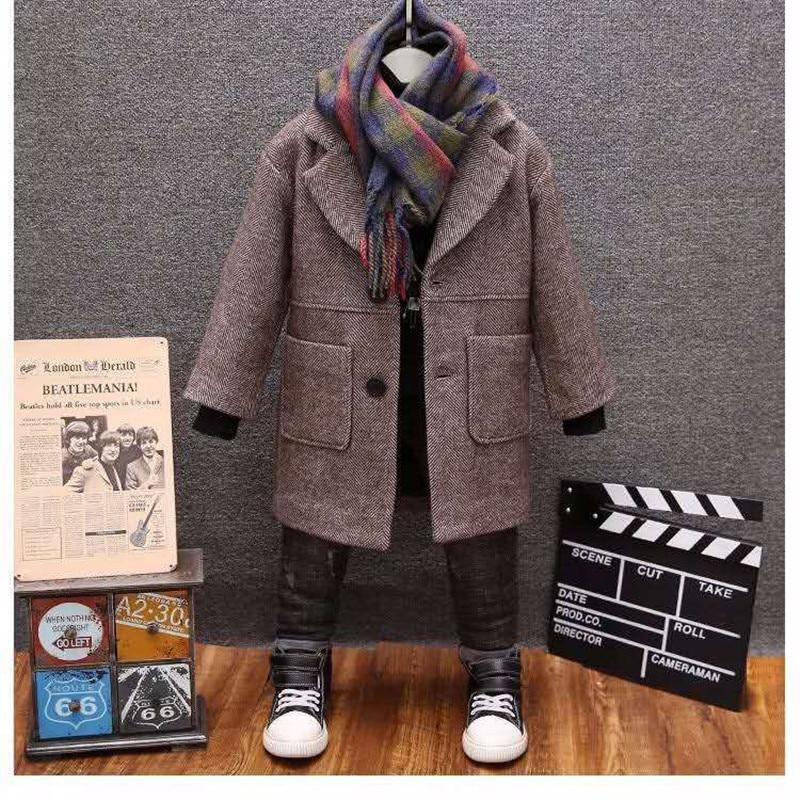 معطف صوفي للأولاد موضة شتاء 2021 جديد سادة بياقة متدلية ملابس خارجية دافئة 3-14T معطف أطفال جودة عالية