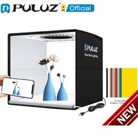 80 60 puluz 30 25cm studio photo ring led light box 6 12 color backgrounds tabletop lightbox photography soft shooting tent box