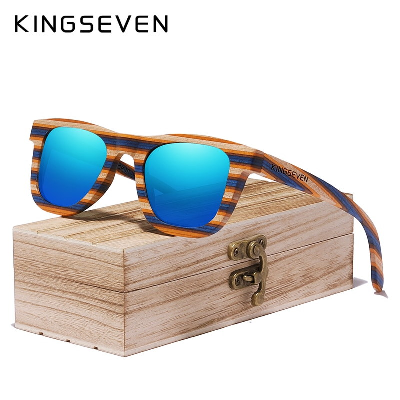 KINGSEVEN-نظارات شمسية مصنوعة يدويًا للرجال والنساء ، إطار خشبي ملون بالكامل ، ماركة فاخرة