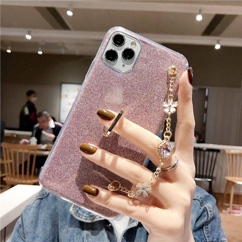 Moda Ultra delgada de silicona con anillo de diamante de lujo pulsera cordón para la caja del teléfono para Oneplus 6 6T 7 7T 5 5T 3 Pro TPU funda cubierta
