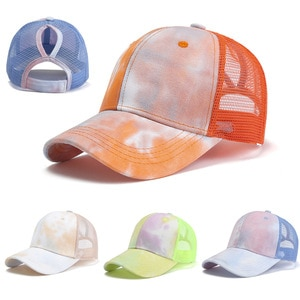 Spring And Summer  New Tie-Dye Gradient Mesh Caps Ladies Ponytail Baseball Caps Casual Tide Duck Tongue Hats