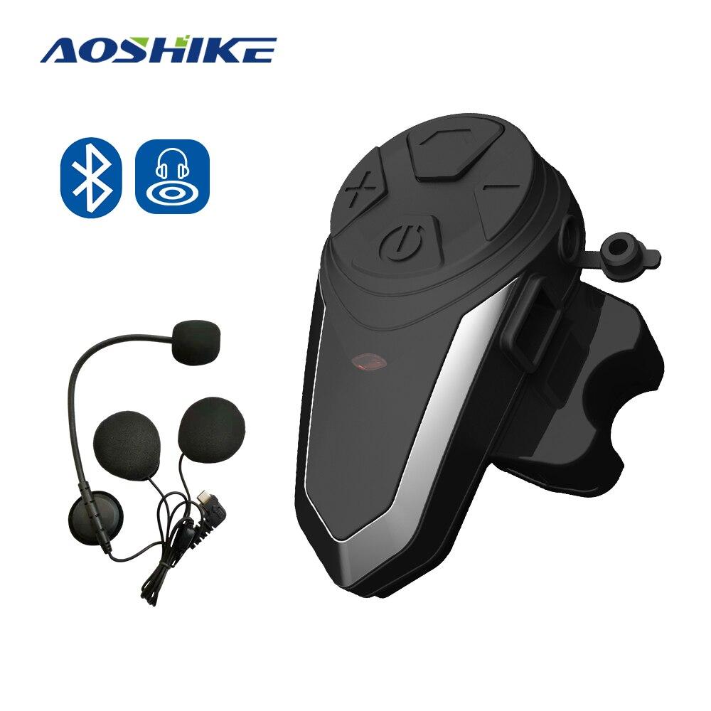 AOSHIKE 1 Uds BT-S3 1000M motocicleta BT interfono moto casco inalámbrico intercomunicador FM auriculares Mini interfono portátil