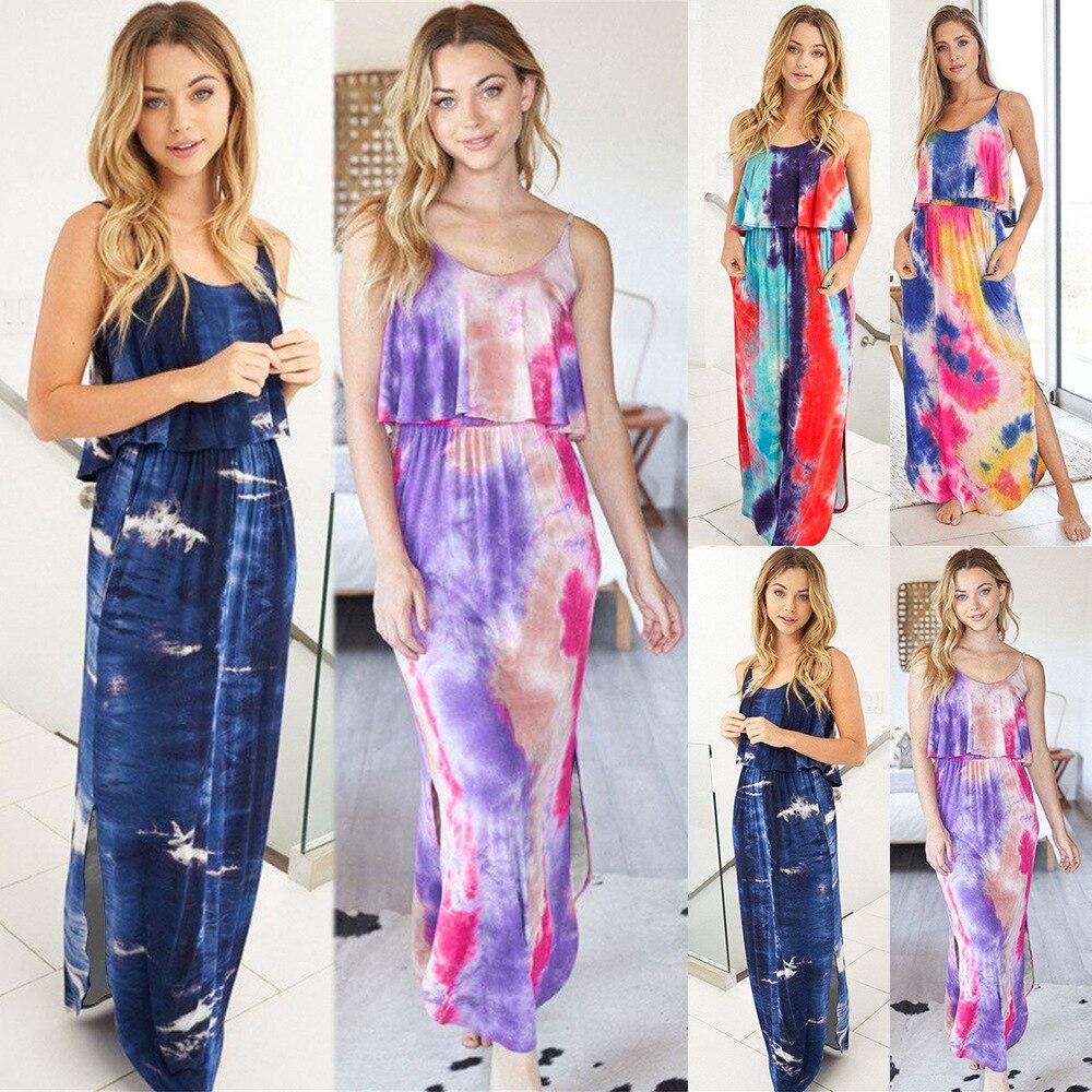 Yg brand 2021 Europe station new summer dress sexy tie dye sleeveless suspender skirt slim slim dress