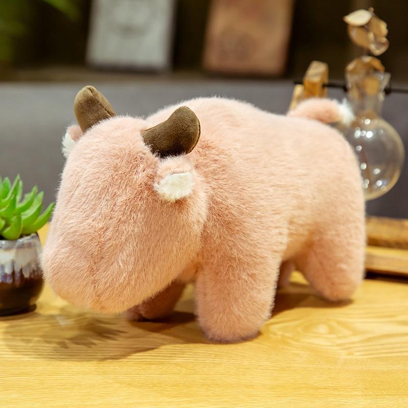 Kawaii pelúcia gado animais de pelúcia longo pelúcia macio rosa azul gado brinquedos apaziguar bonecas para o aniversário do bebê da criança presentes de natal