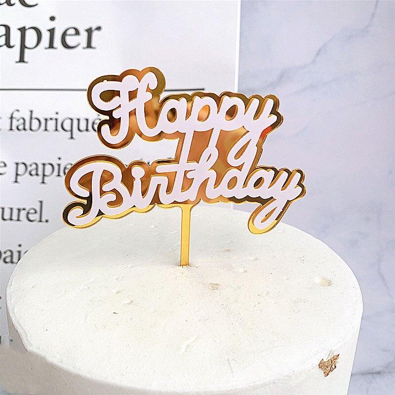 Double Layers Happy Birthday Cake Topper New Contrast Color Cake Toppers For Birthday Cake Decor Shiny Acrylic Cake Cupcake Flag