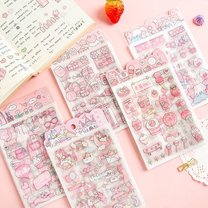 4pcs/Set Kawaii Girl Pink Cartoon Pattern Stickers Flash Point Frosted PET Photo Album DIY Decoration Stickers