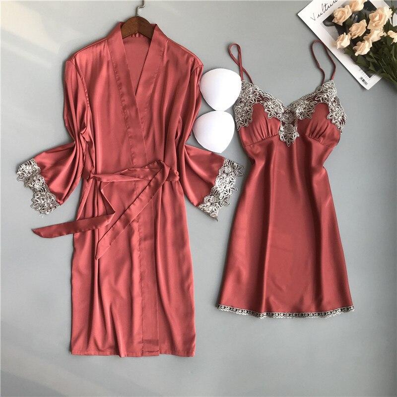 BZEL, conjunto de Bata de verano para mujer de dos piezas, ropa de dormir de satén de seda, camisón Sexy de encaje, albornoz de mujer, Pijamas