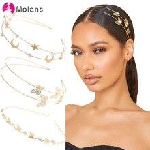 Molans Nuovo Oro di Modo Strass Abbellito Fasce Per Le Donne Hairbands Eleganti Star Accessori dei Capelli Della Ragazza