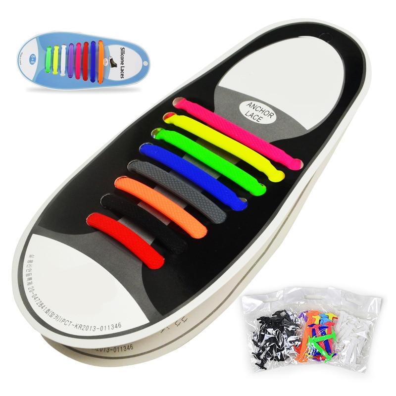 16 pièces/lot lacets en Silicone lacets de chaussures élastiques hommes femmes laçage caoutchouc 13 couleurs Zapatillas xd01
