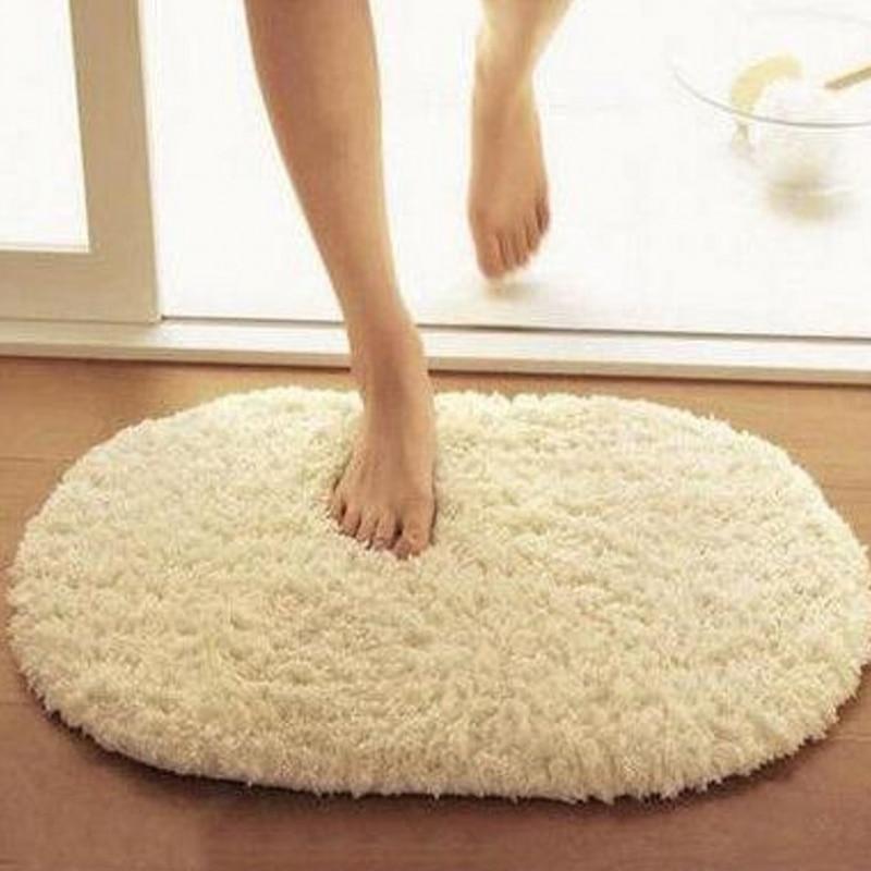 Soft Absorbent Bath Mats Toilet Floor Absorption Thick Pad Non-slip Bathroom Rug Ellipse Carpets Bath Products
