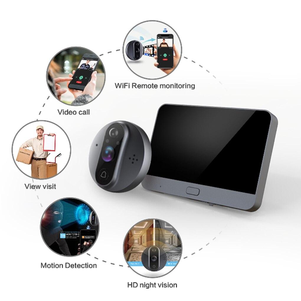 Smart WiFi Video Doorbell Peephole Doorbell Viewer Home PIR Motion Detection Security Monitor Detection Tuya APP Remote Control enlarge