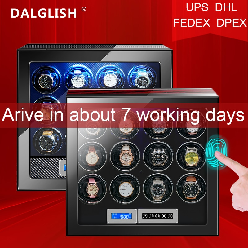 Watch Winder box for Automatic Watches Quite Japanese Motor fingerprint to unlock High Quality Rotate 12 slot Watch LED