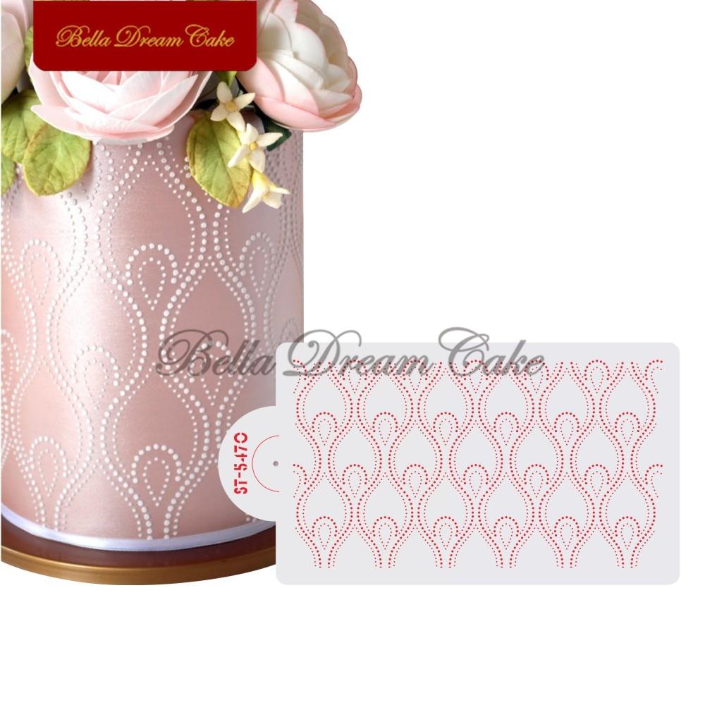 Трафарет для торта с цветочным узором, пластиковые трафареты для украшения торта, кружевной шаблон «сделай сам», форма для украшения торта, ...