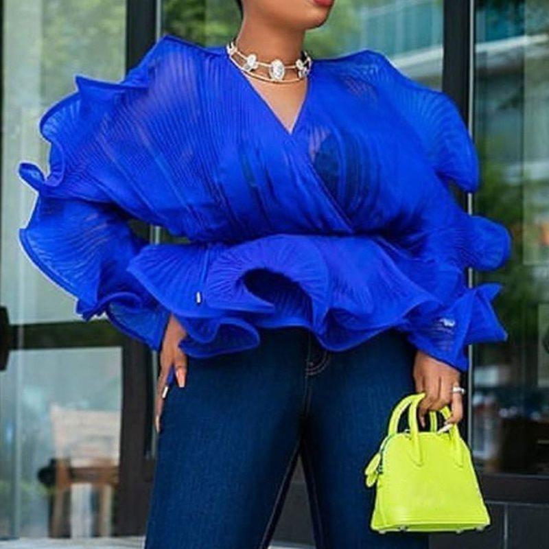 Falbala, túnica azul sexi, blusa transparente, fiesta de noche para mujer, Tops de manga larga con cuello en V, blusa de verano y otoño con volantes de malla