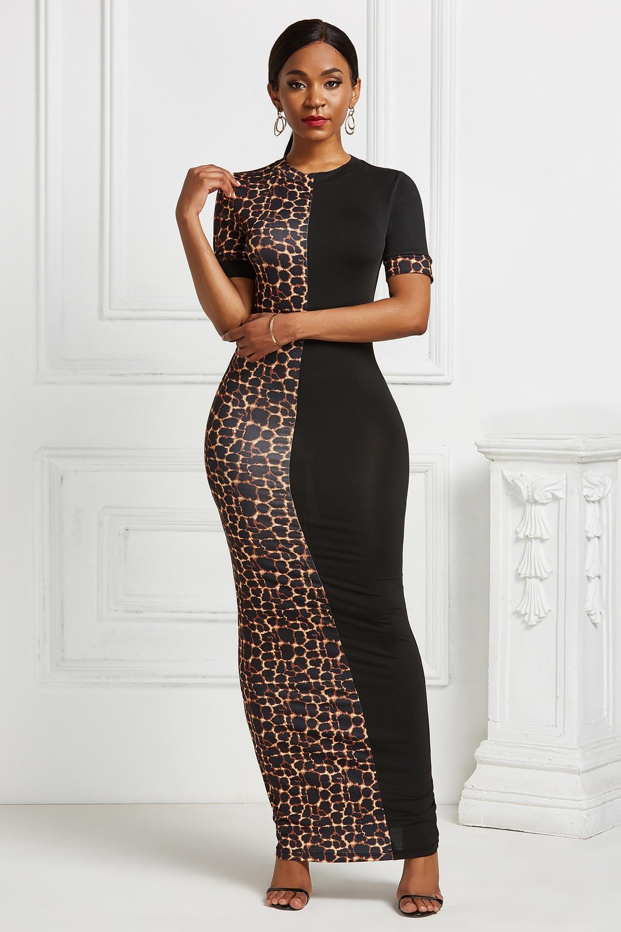 Vestido de talla grande de Sudáfrica para mujer, nuevo pantalón corto casual con mangas de color, Vestido largo de leopardo para mujer, ropa maxi bodycon