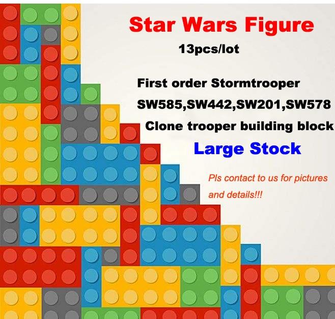 13 unids/lote juguetes de Star Wars Jedi Rogue Utapau sw221 soldado clon Cunner comandante sw188 primera orden tormenta slider soldado juguetes de bloques