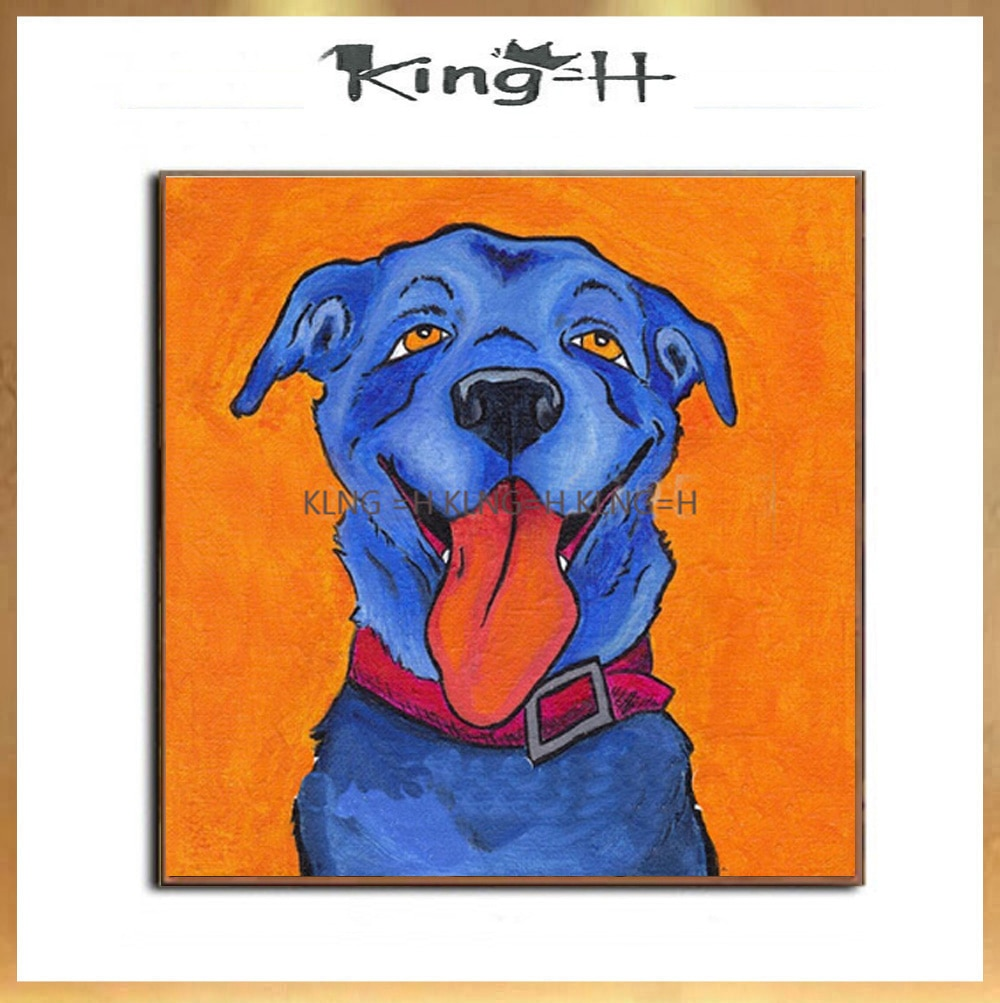 Pintado a mano perro inteligente pinturas de Arte Moderno rojo abstracto lengua perros casa sala de pintura al óleo laca arte salón sofá