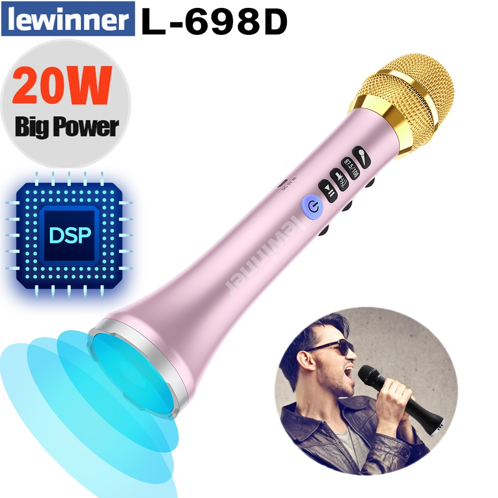 Lewinner L-698D اللاسلكية الكاريوكي ميكروفون ، 20W المهنية بلوتوث ميكروفون المتحدث مع DSP الصوت تأثير رقاقة
