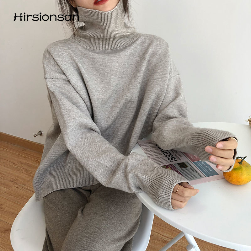 Hirsionsan المتضخم الياقة المدورة محبوك سترة المرأة 2021 الخريف الشتاء عادية الأساسية الصلبة البلوفرات الإناث بلوزات أنيقة بسيطة