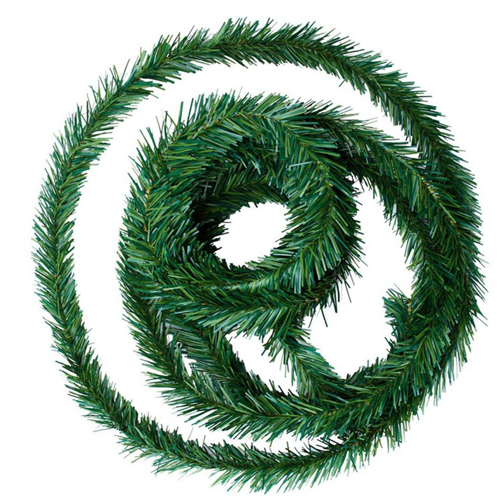 Árbol pino de mimbre verde guirnalda para chimenea guirnalda artificial flores Banner ornamento juguete boda decorativa suministros