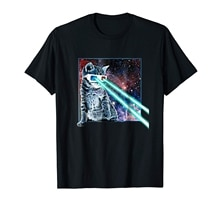 brand men shirt Captain Laser Cat 3D Glasses Space Galaxy Kitty Eye