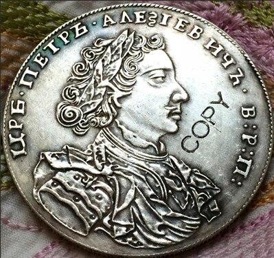 Atacado 1707 rússia 1 moedas de Rublo copiar 100% coper fabricação de prata-banhado
