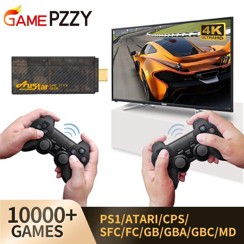 Игровая приставка HD со встроенными 10000 классическими играми, 4K, ТВ, ретро игровая консоль, двойной беспроводной контроллер для PS1/CPS