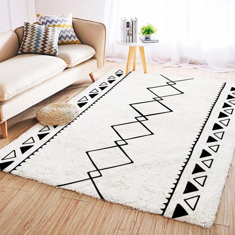 المغرب هندسية السجاد لغرفة المعيشة الشمال الحديثة مخطط نوم البساط المنزل مريحة موجزة طاولة القهوة الطابق بطانية